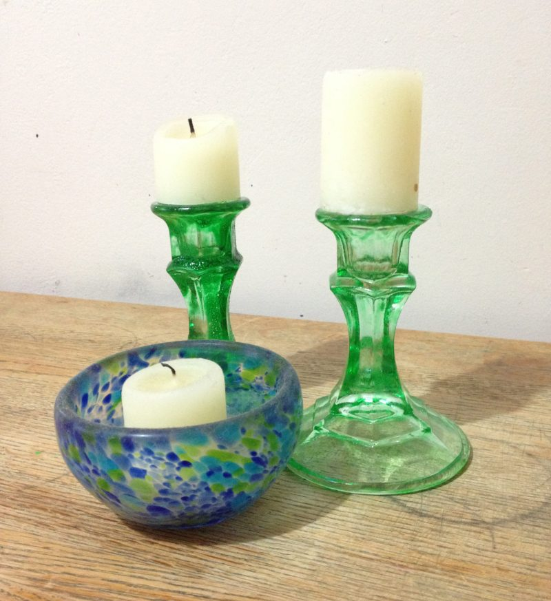 diy colored glass candlesticks