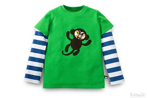 internaht kid's long sleeve monkey tshirt