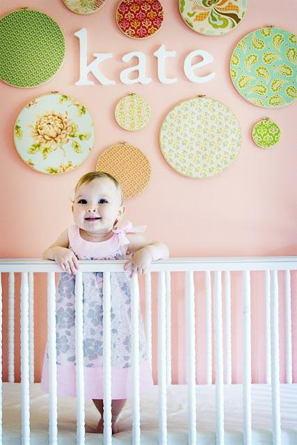 girls room: embroidery hoop wall art