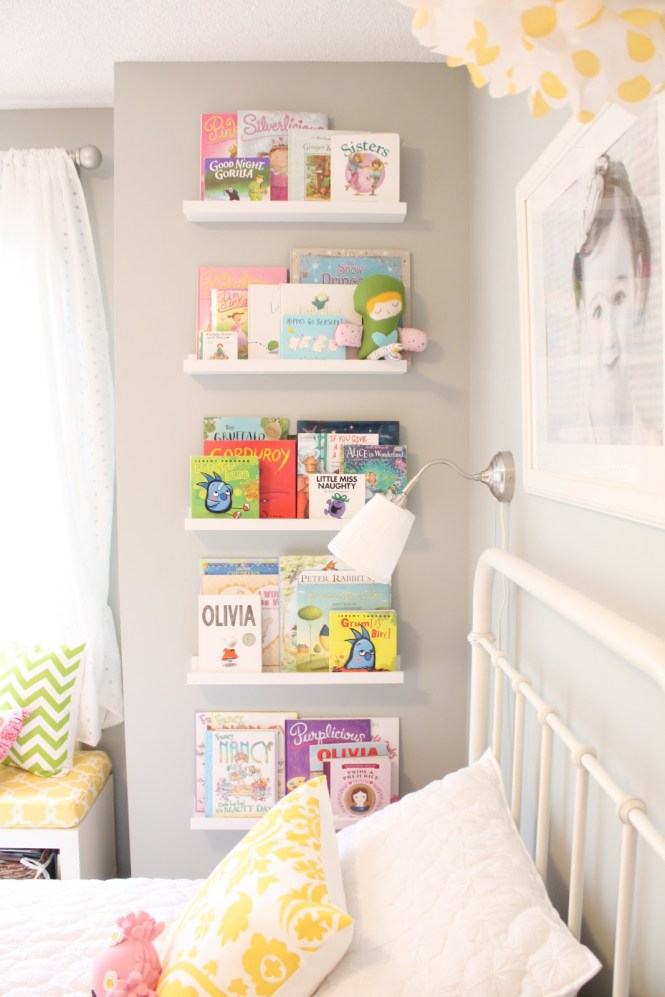 girls room: small space book storage