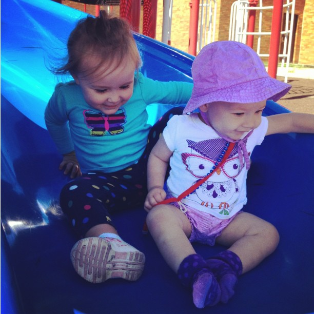 cousins on the playground