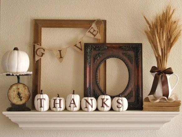 fall pumpkin decor: give thanks mantel