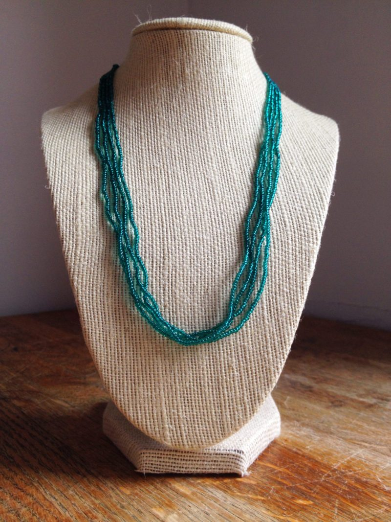Jennifer Garry Designs: teal multistrand beaded necklace