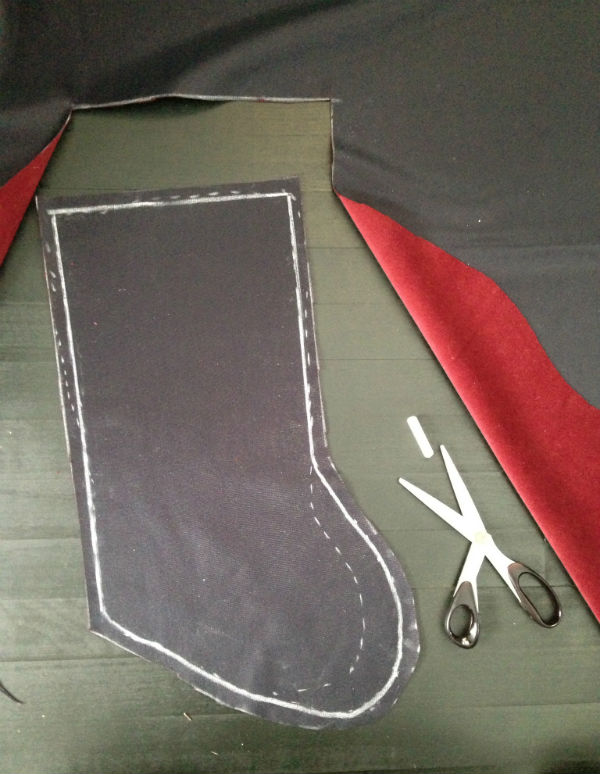 DIY Christmas Stocking: cut your shape