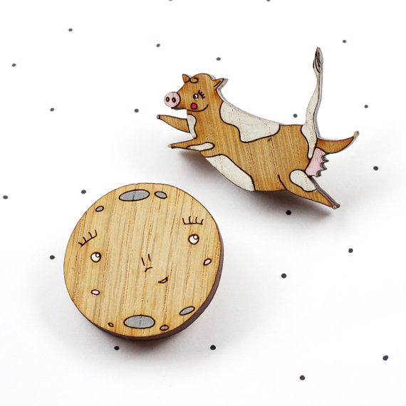 So Little Time Co Wooden Laser Cut Cow and Moon Brooch