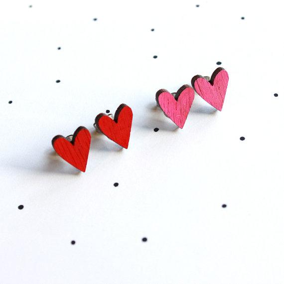So Little Time Co Wooden Laser Cut Love Heart Earrings