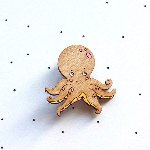 So Little Time Co Wooden Laser Cut Octopus Brooch