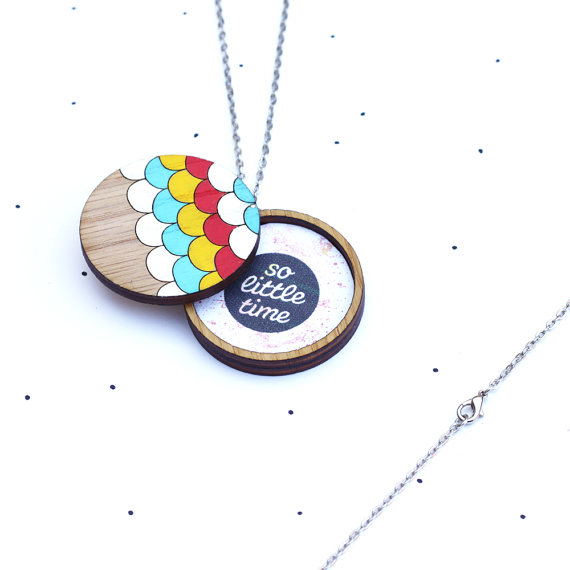 So Little Time Co Wooden Photo Locket Scallop