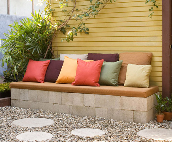 outdoor living inspiration: cinder block bench