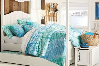 living in PB Teen: beadboard canopy tie dye bedroom