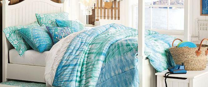 living in PB Teen: beadboard canopy tie dye bedroom