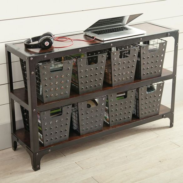 living in PB Teen: rustic perforated bins