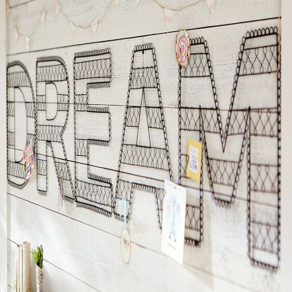living in PB Teen: wire wall letters
