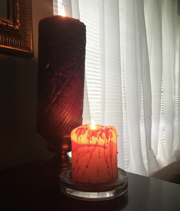 DIY Halloween decor | bloody candle