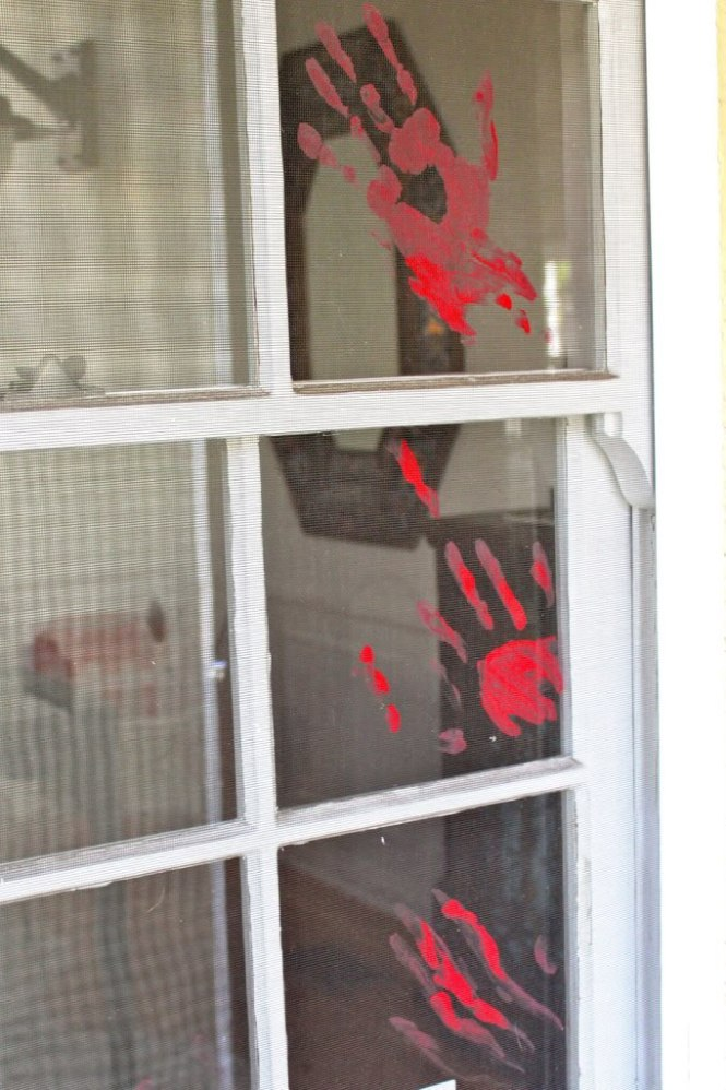 DIY Halloween decor   bloody windows