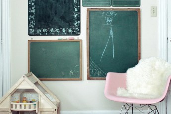 kids decor for grown ups | chalkboard gallery wall