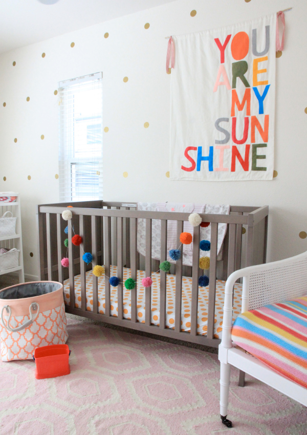 kids decor for grown ups | gold polka dots