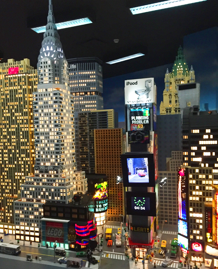 Lit up Miniland at LEGOLAND Discovery Center Westchester