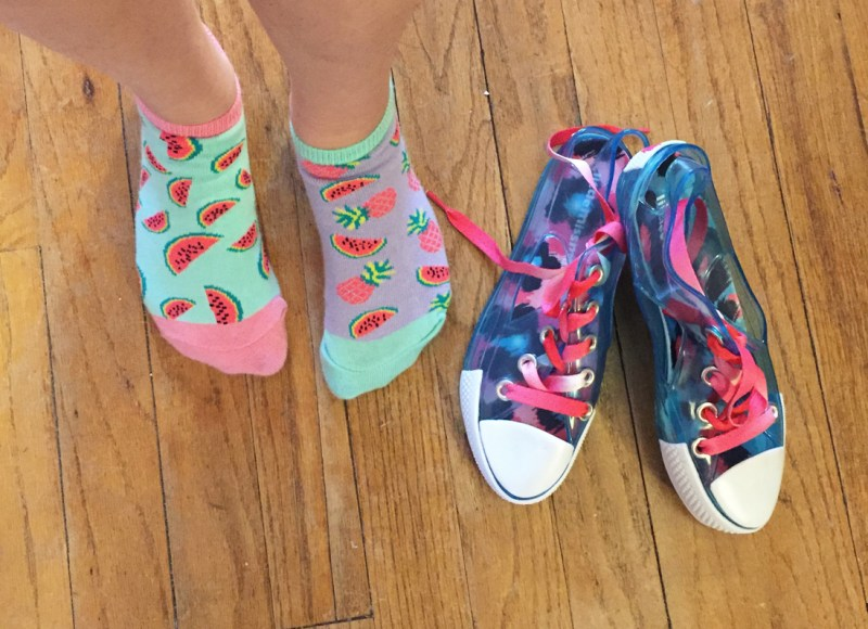 LittleMissMatched smelly socks and jelly sneakers