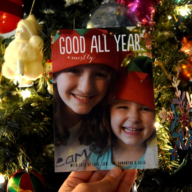 close up of Minted holiday photo card