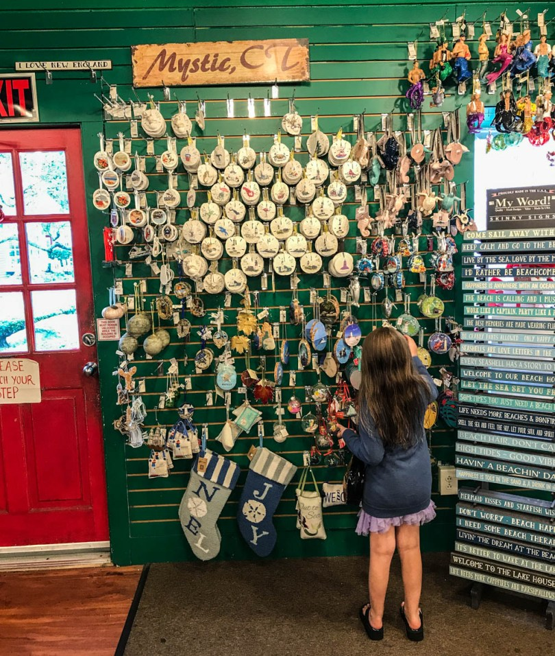ornament shopping in Olde Mistick Village in Mystic, Connecticut