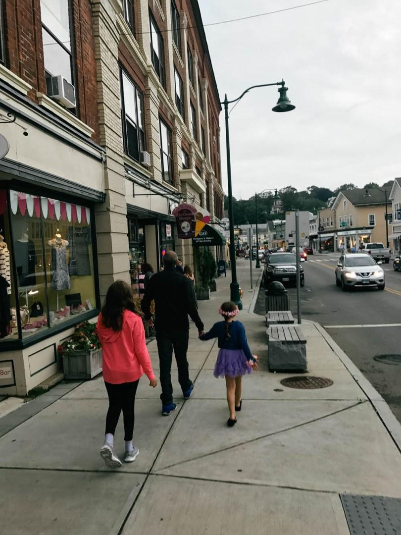 strolling through downtown Mystic