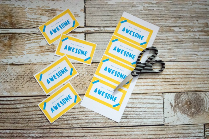 Random Acts of Kindness - free printable cards - Hello, I think you're awesome