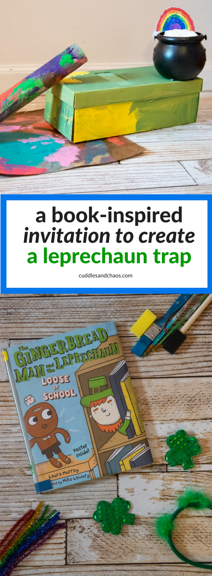 book-inspired invitation to create a leprechaun trap - book and a craft - The Gingerbread Man and the Leprechaun Loose at School - St. Patrick's Day