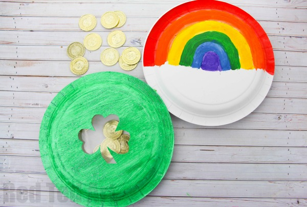 Rainbow Crafts for Kids - Rainbow Paper Plate Tambourine