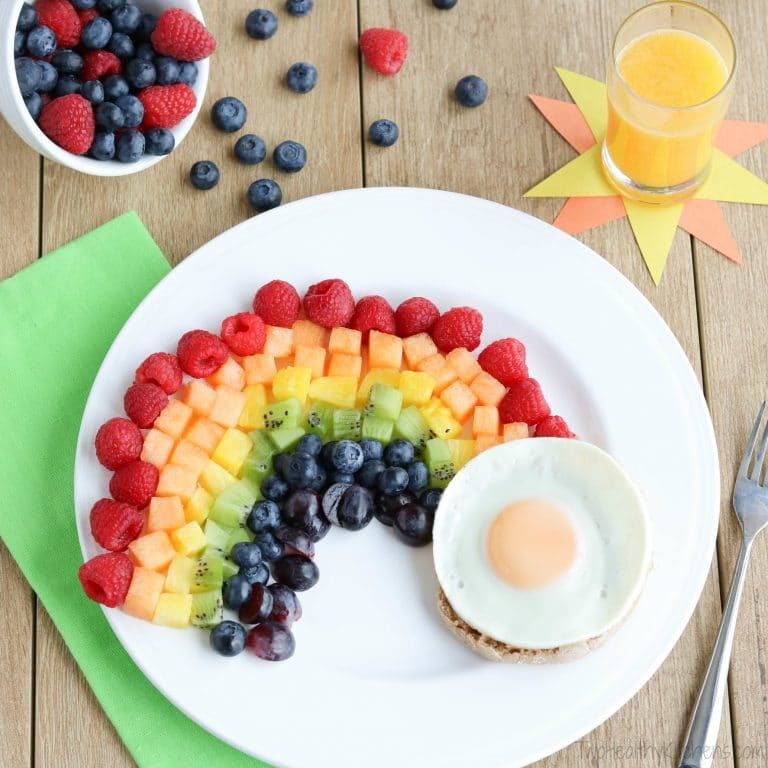 Rainbow Crafts for Kids - Fruit Rainbow with a Pot of Gold Breakfast