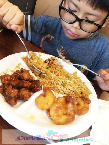 LittleMan V ordered Orange Chicken & Honey Walnut Shrimp