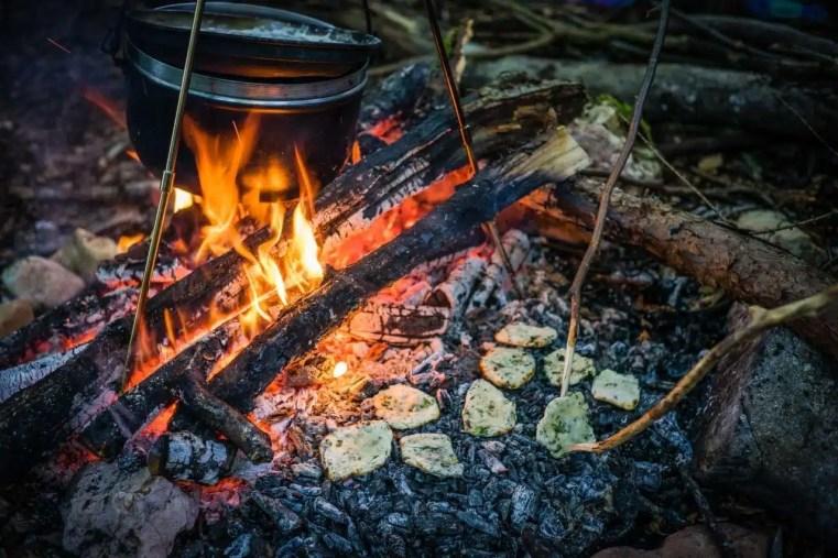 Cuisine des plantes sauvages au feu de bois