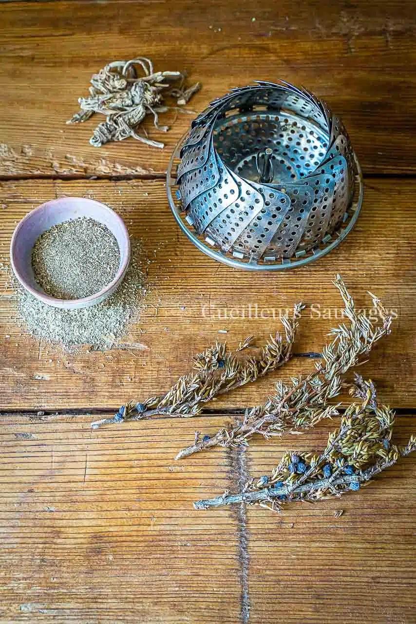 Fumage de plats à la racine d'impératoire. Cueilleurs Sauvage. Livre 53 Plantes sauvages comestibles.