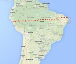 Suggested route for Peru to Brazil rail line.