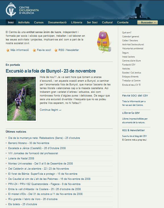 Renovada web del Centro Excursionista de Valencia 2