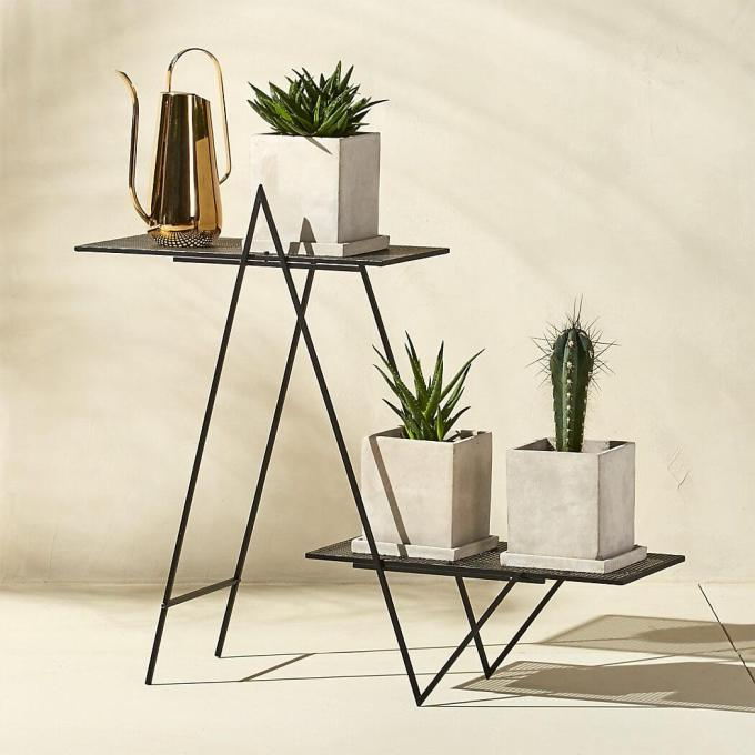 Angled Black Outdoor Plant Stand + Reviews | CB2