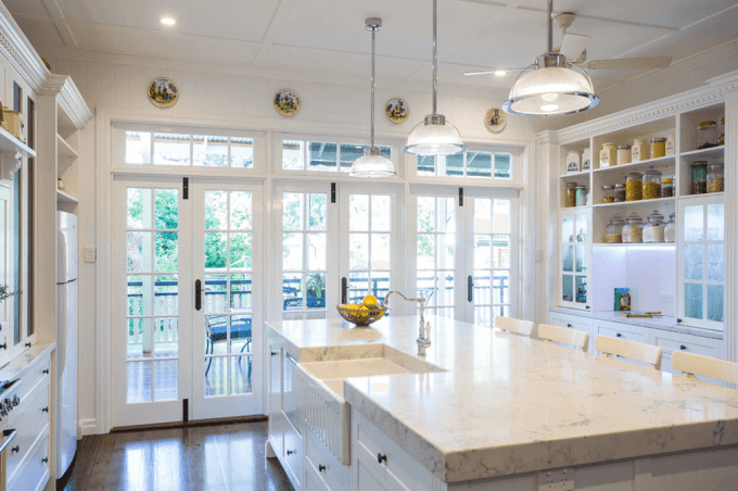 Beautiful White Kitchen With Islands