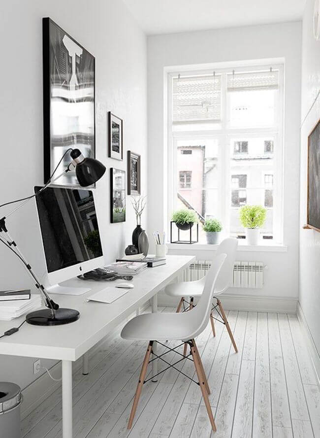 small home office decor with light