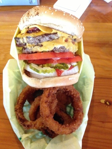 Double Bacon Cheeseburger Basket at Downtown Hodad's in San Diego, CA