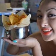 Employee Sarah presenting Dirty Chips at Dirt Dog LA