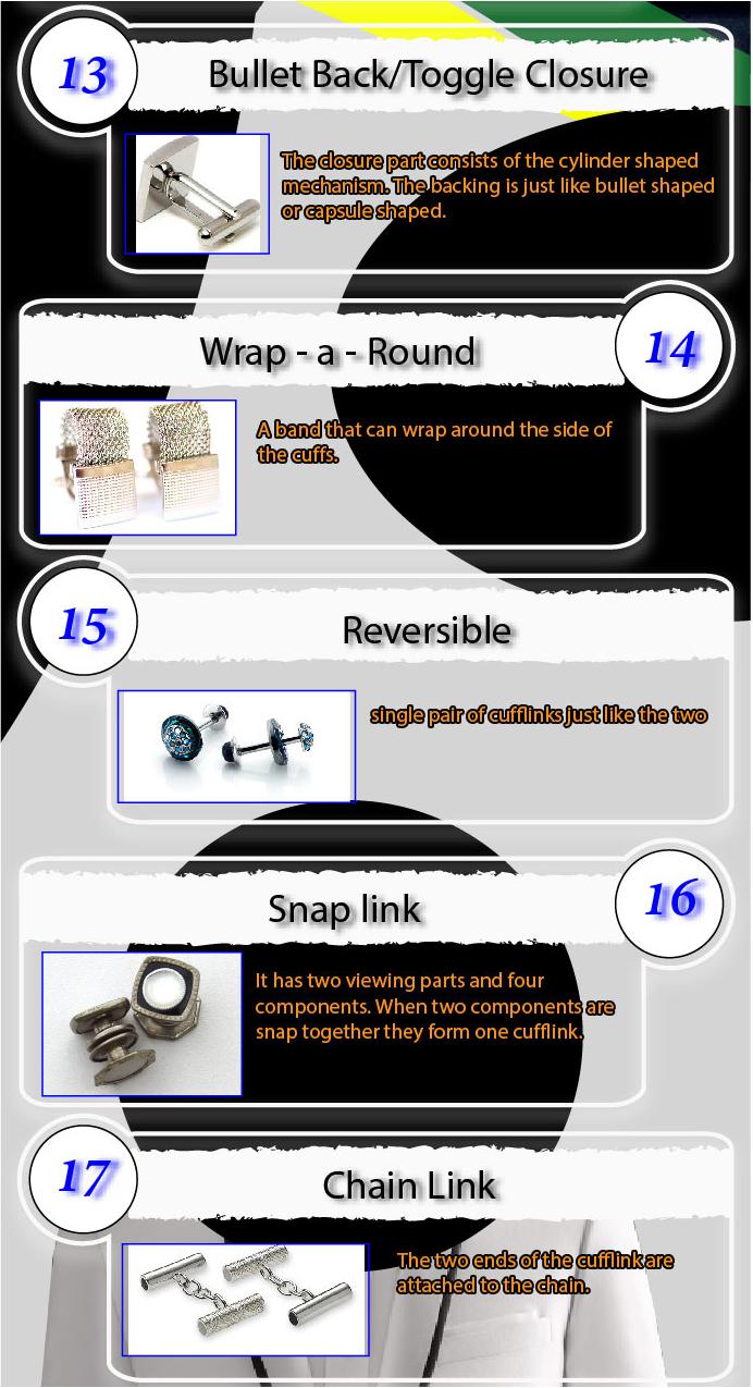 types of cufflinks