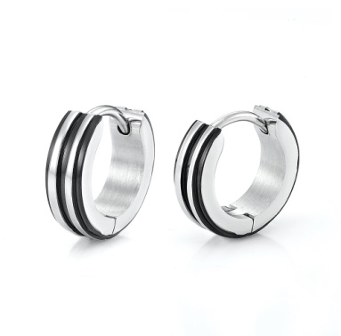 A black colored strand on the thick hoop men's earrings