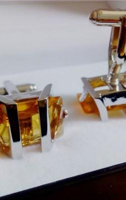 cufflinks orange stone
