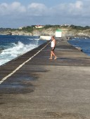D3. Julia walking along the socoa breakwater 12.7.17.