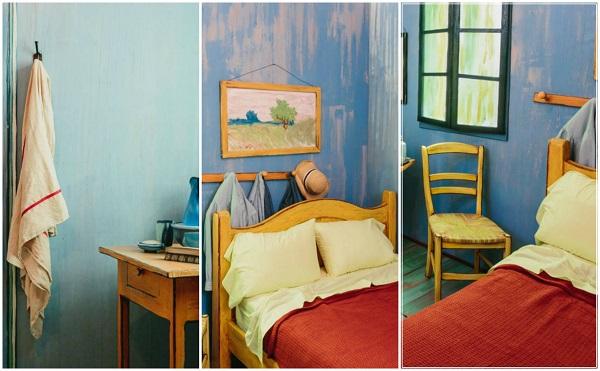 detalii din interiorul dormitorului reprodus din pictura lui van gogh care va fi inchiriat prin air bnb