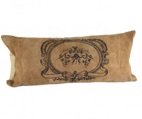 pernă de decor dreptunghiulară din piele întoarsă în patchwork cu imprimeu tip emblemă gravată