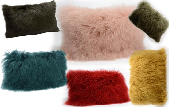 pernă decor cu blăniță artificială colorată
