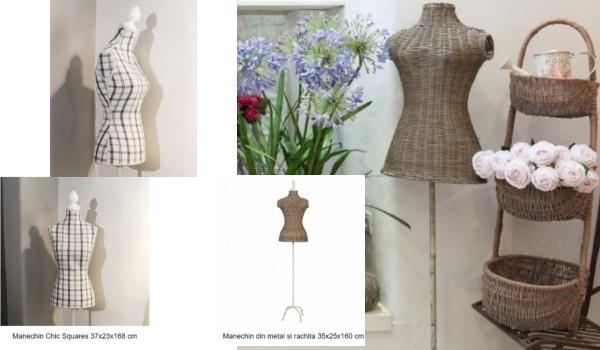 manechine de decor retro și rustice din răchită și cu material cu imprimeu în carouri