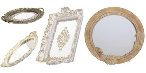 tăvi decorative cu oglindă în stil vintage