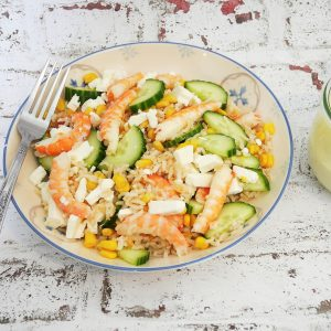 Salade aux deux riz et crevettes – Recette du livre cuisiner à l'avance pour la semaine de Dorian Nieto